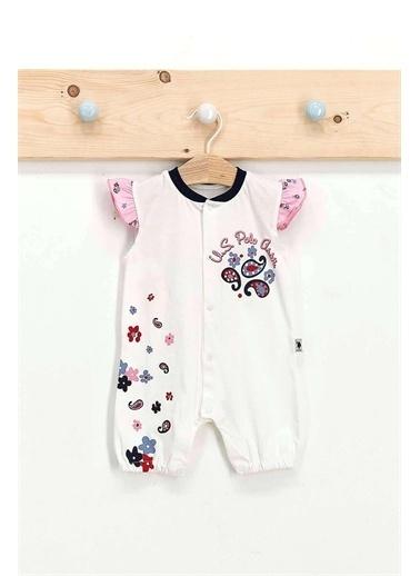 U.S. Polo Assn. Lisanslı Flowers Krem Kız Bebek Kısa Kol Lastikli Tulum Krem